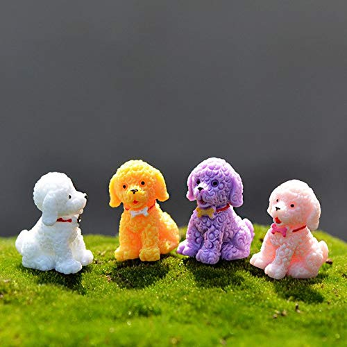 ZAMTAC 4pc/lot Curly Hair Dog Miniature Figurine Stand Walk sit DIY Accessories Doll House Decoration Simulation Animal Models Toy - (Color: 4pcs Sitting)