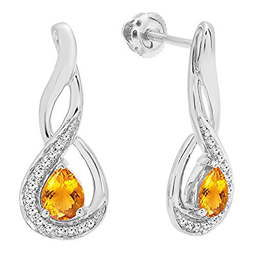 Dazzlingrock Collection 14K 5X4 MM Each Pear Citrine & Round Diamond Infinity Drop Earrings, White -