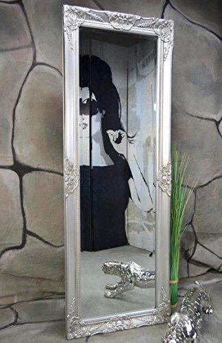 Livitat® Wandspiegel Badspiegel barock antik Silber 140 x 50 cm Landhaus