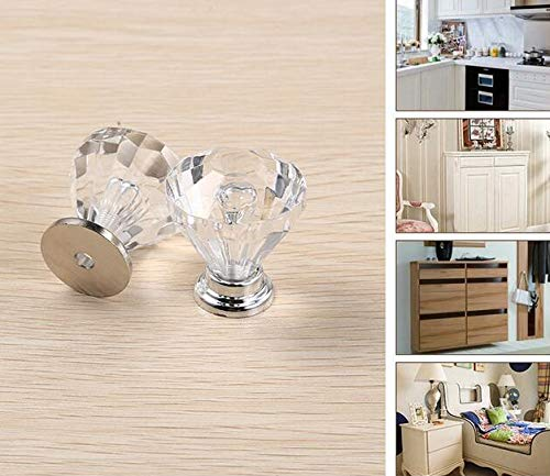 WOTOY Aluminum Alloy Badminton Crystal Cabinet Knobs 25mm Diamond Shape Drawer Cabinets Dresser Cupboard Wardrobe Pulls Handles 10 Pcs by WOTOY (Image #6)