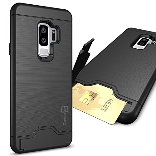 CoverON Galaxy S9 Plus Case with Card Holder, [SecureCard Series] Protective Hard Hybrid Phone Cover with Credit Card Holder Slot for Samsung Galaxy S9 Plus - Black