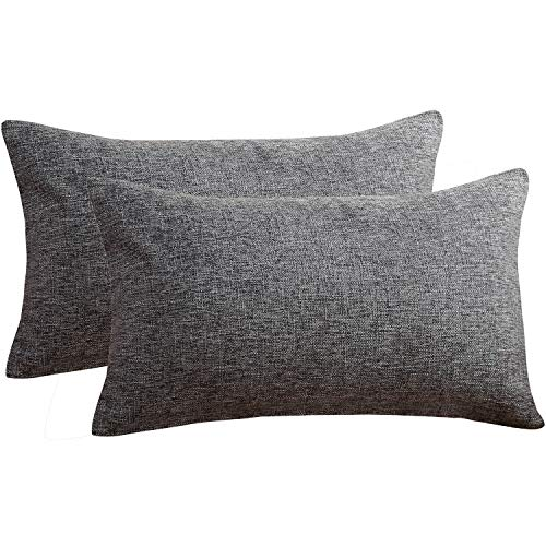 Sunday Praise Cotton-Linen Decorative Throw Pillow Covers,Classical Square Solid Color Pillow Cases,12x20 Inches Cushion Covers for Sofa Couch Bed&Car,Pack of 2 (Deep Grey)