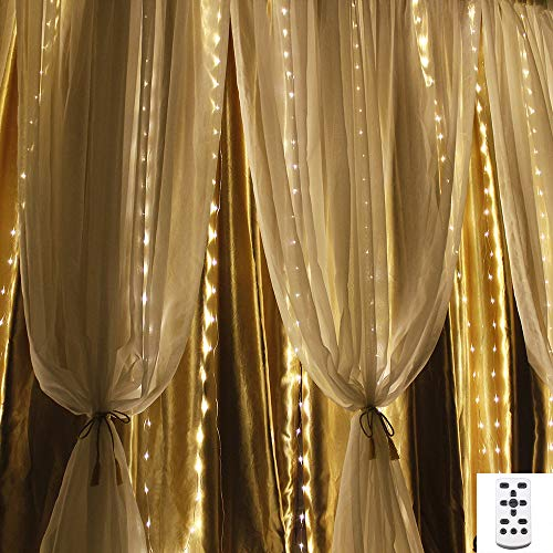 LED Curtain Lights, Window Curtain Fairy Lights, 300 LEDs, 3M × 3M, 8 Modes Icicle String Lights with Remote Control for Outdoor Party Wedding Christmas Garden Bedroom Decoration
