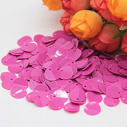 Crafts - Folded Sequins 8/10/12mm Cup Oval Folding Sequins Horse Eyes Crafts Frosted Loose DIY Wedding Sewing Accessories 20g - (Color: 10mm Solid Rose red, Size: 20g) ()
