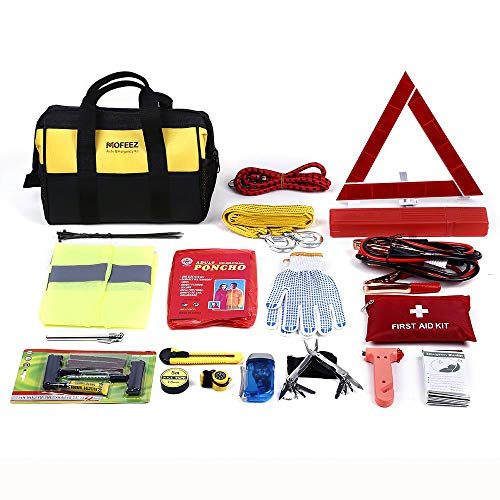 Mofeez Portable Roadside Assistance Auto Emergency Kit + First Aid Kit - Rugged Tool Bag - Contains Jumper Cables, Tools, Reflective Safety Triangle and More.