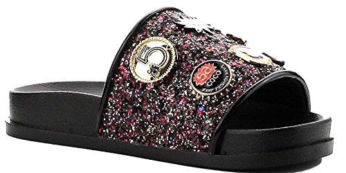 Cape Robbin Moira-25 Women Slides Flip Flop Glitter Metal Pendant Ornament Sandal Black (11, Black)