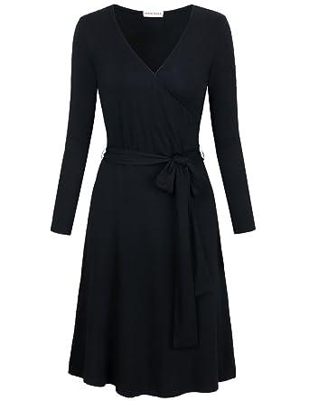 850cb335996 MOOSUNGEEK Black Wrap Dress, Women's Little Black Solid Color Dress Long Sleeve  Casual A Line