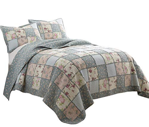 Quilt Patch Garden - Chezmoi Collection 3-Piece Garden Floral Vintage Washed 100%-Cotton Reversible Patchwork Quilt Set (King)