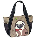 Chala Purse Handbag Vegan Leather and Canvas Carryall Tote Bag Playful Pug Puppy Dog