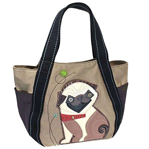 Bag Pug - Chala Purse Handbag Vegan Leather and Canvas Carryall Tote Bag Playful Pug Puppy Dog