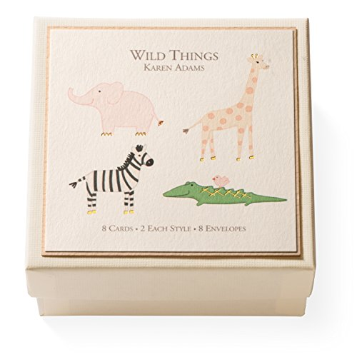 "Karen Adams Gift Enclosure Box ""Wild Things"" 8 Assorted Cards with Vellum Envelopes"