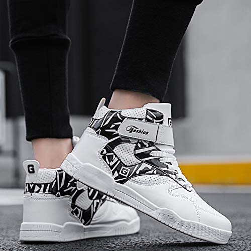 Tops MUOU Schuhe Weiße Flache Mode schwarz Männer Turnschuhe Leder Herren Weiß High Schuhe Freizeitschuhe Sneaker 0 Bequeme Für qqRSpA