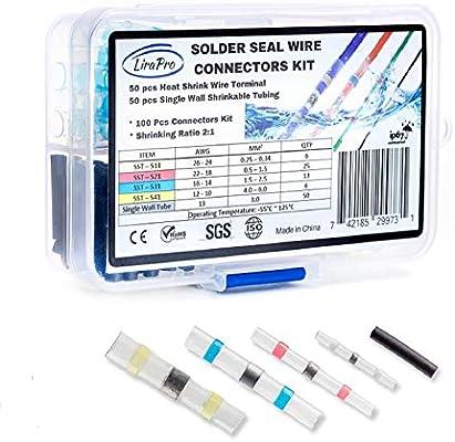 50X Waterproof solder sleeve heat shrink tube wire terminal connector 4 sizeYNUV