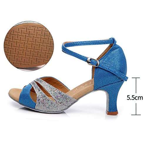 de Blue con Fondo de Latino Zapatos Salón Cuadrados de Tamaño Baile Water Blue Baile Adulta Color 40 Suave Mujer de Jingsen Baile Water Sandalias Verano de Zapatillas qPYP46