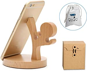 Cute Cell Phone Stand with Canvas Bag, MHKBD Wooden Phone Stand Cool Guy Cell Phone Holder Desktop Cellphone Stand Universal Desk Stand for Smart Phone iPad, Great for Watching Video, Karate