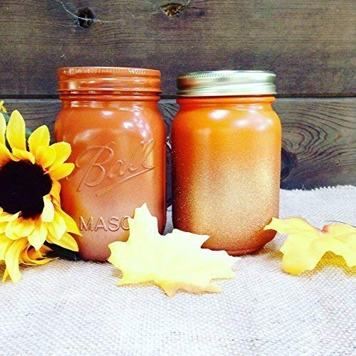 Set of 2 Rustic Fall Theme and Copper Gold Glitter Painted Mason Jars Centerpieces, Glass Flower Vase, Thanksgiving Table Decor, Boho Chic Home Decorations