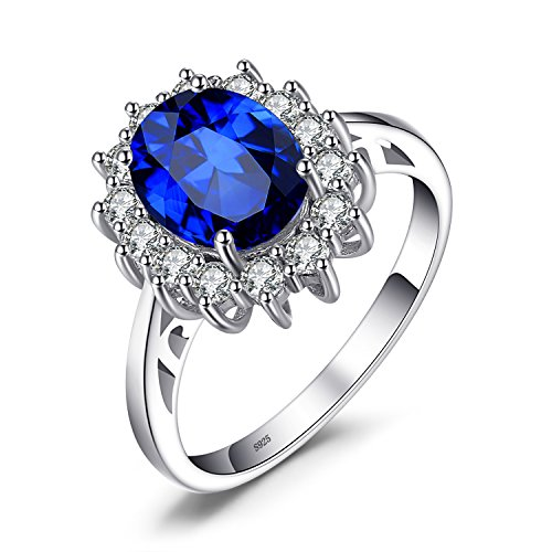 Lab Sapphire Ring - JewelryPalace Gemstones Created Blue Sapphire Birthstone Halo Solitaire Engagement Rings For Women For Girls 925 Sterling Silver Ring Princess Diana William Kate Middleton Size 7