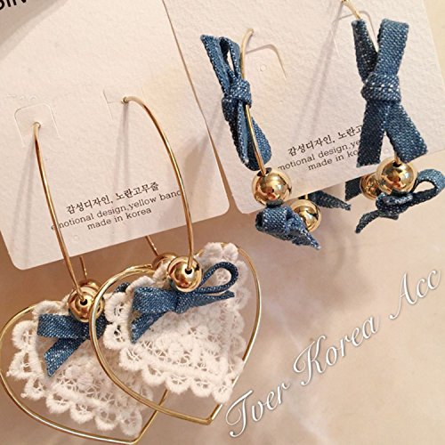 Denim fabric earrings women fashion girls South Korean court temperament retro sexy lace bow pearl pendant earrings super - Korean Fabric