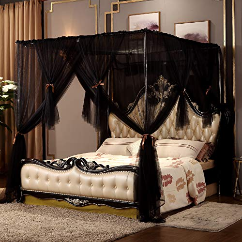 Nattey 4 Corners Post Canopy Bed Curtain for Girls Boys & Adults - 4 Opening - Bedroom Decoration (Full, - Posts Plain Corner