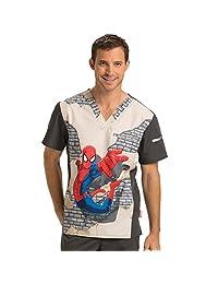 Tooniforms By Cherokee Men's V-Neck Spiderman Print Scrub Top