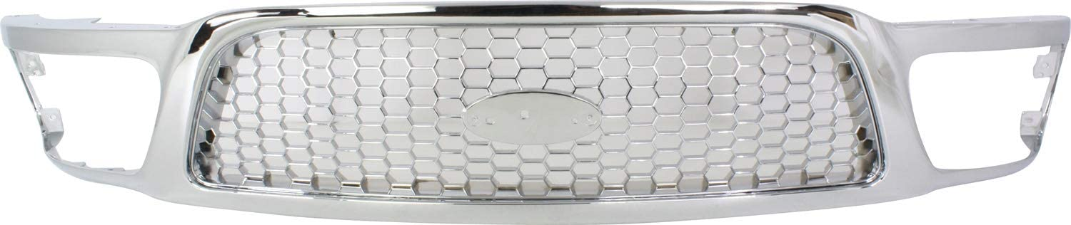 Evan-Fischer Grille Assembly Compatible with 1999-2003 Ford F-150 Honeycomb Insert Chrome Shell and Insert Performance Design