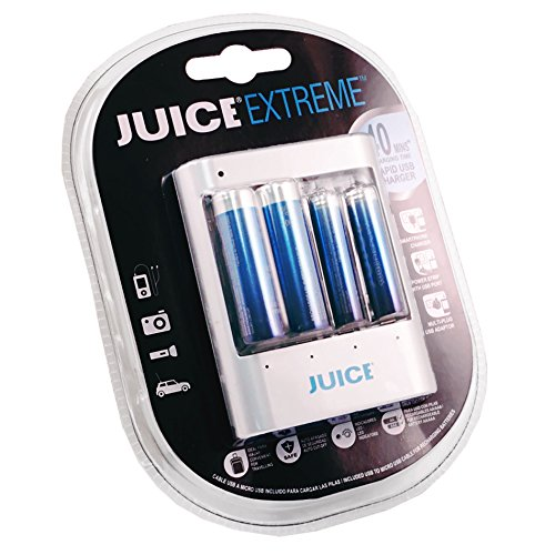 JUICE Extreme Replay Rapid/Smart USB Starter Kit with 1500 Cycle 2-AA PLUS 2-AAA Pre-Charged Rechargeable Hybrid Batteries - Standard Electric Blue JERHOJ421002 - Blue by JUICE