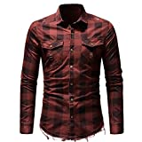 OWMEOT Men's Slim Fit Long Sleeves Casual Fashion Shirts (Red, 2XL)