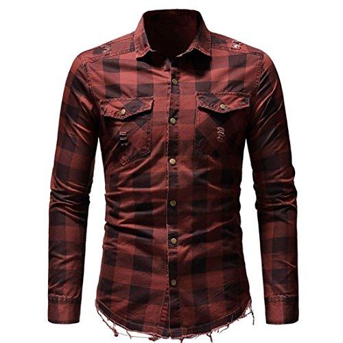 OWMEOT Men's Slim Fit Long Sleeves Casual Fashion Shirts (Red, 2XL) by OWMEOT