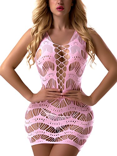 FasiCat Women's Mesh Lingerie for Women Fishnet Babydoll Mini Dress Free Size Bodysuit Lightpink 7