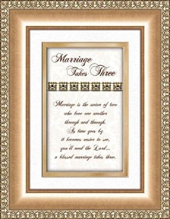 Wedding Anniversary Gift Marriage Takes Three Poem Framed Verse Print Heartfelt