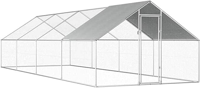 Goofly Outdoor Chicken Cage Walk-in Chicken Coop Rabbit Habitat Cage Galvanised Steel Hen Run House 2.75x8x2 m