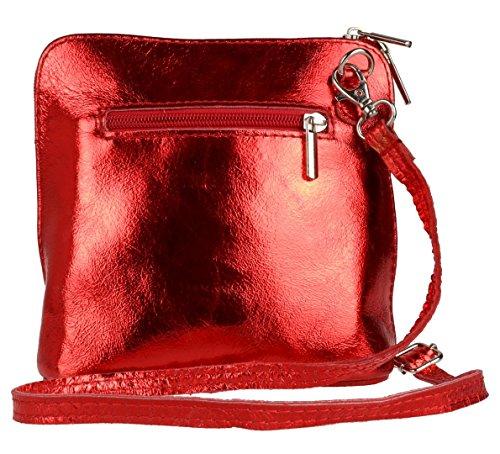 Handbags Girly Piel cruzados de Bolso rojo mujer metalizado para qxCCdR