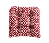 WAVERLY Indoor/Outdoor Single Seat Chair Cushion – 19 x 19 Inches, Available in Many Designs, Comfortable and Durable (Lov Latt RED)