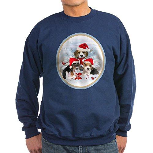 CafePress - Beagle puppies Christmas Scen Sweatshirt (dark) - Classic Crew Neck Sweatshirt (Christmas Scen)
