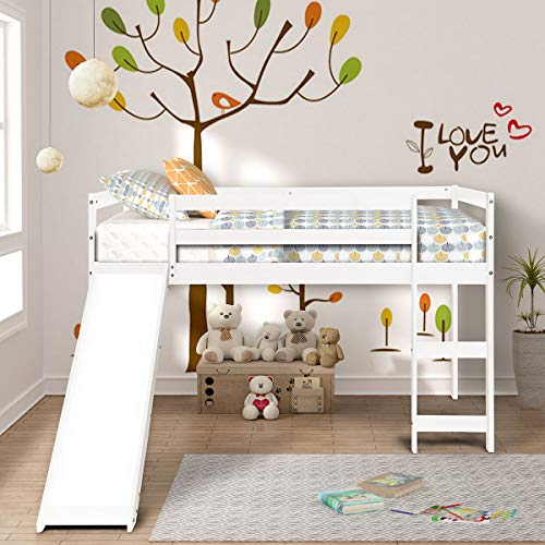 - COZYWELL Environment Friendly Wood Twin Loft Bed with Slide for Your Children, Multifunctional Tent Bed (White Finish)
