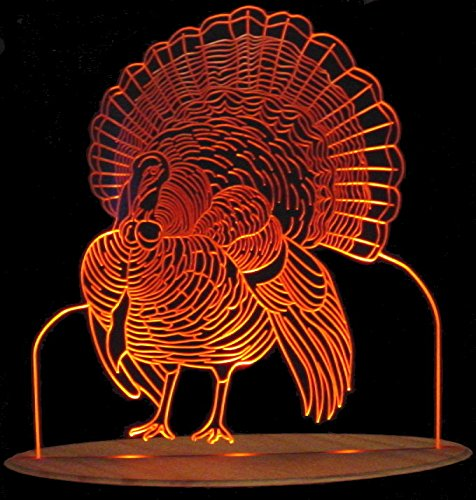 Turkey Thanksgiving Light Acrylic Lighted Edge Lit LED Sign / Light Up Plaque