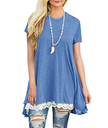 Artfish Women's Short Sleeve Tunic Shirts Cotton T Shirt with Lace Detail (Blue,S) (Lace Detail Tunic)