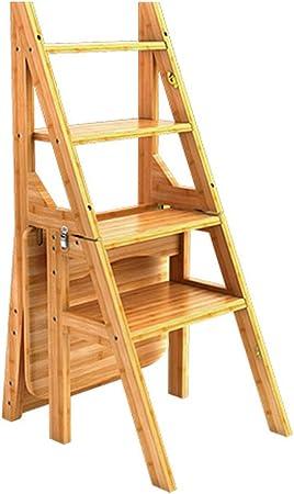 Escalón plegable 4 escalones Escalera de madera Silla portátil Escalera doméstica Escalera de tijera Taburete ensanchado para niños / adultos, con tapete antideslizante, altura 90 cm: Amazon.es: Hogar