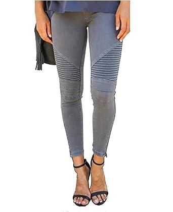 f4f81d9bf29e8 Hslieey Women Jeans Skinny Stretch Moto Biker Jeans Boyfriend Pants Slim  Fit at Amazon Women s Jeans store