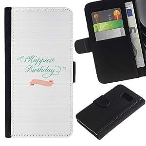 Paccase / Billetera de Cuero Caso del tirón Titular de la tarjeta Carcasa Funda para - Birthday Teal Pink White Paper Lines - Samsung Galaxy S6 SM-G920