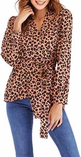 da8b2d2be20 Women s Casual Deep V Neck Long Sleeve Tops Button Down Shirt Leopard Print  Blouse Tunic Plus