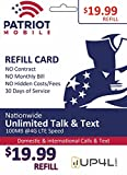 Patriot Mobile Prepaid Airtime Refill Card - $19.99 ReUp Airtime Card