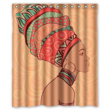 Amazon FMSHPON African Woman Waterproof Polyester Fabric Shower