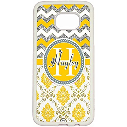Galaxy S7 Edge Case, ArtsyCase Yellow Silver Chevron Grey Damask Monogram Personalized Heart Name Phone Case - Sales