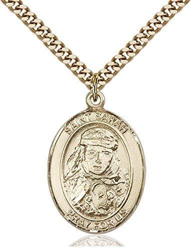 14K Gold Filled Catholic Saint Sarah Medal, 1 Inch