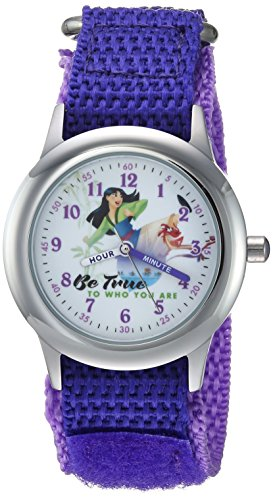 Disney Girl's 'Mulan' Quartz Stainless Steel and Nylon Casual Watch, Color:Purple (Model: WDS000205)