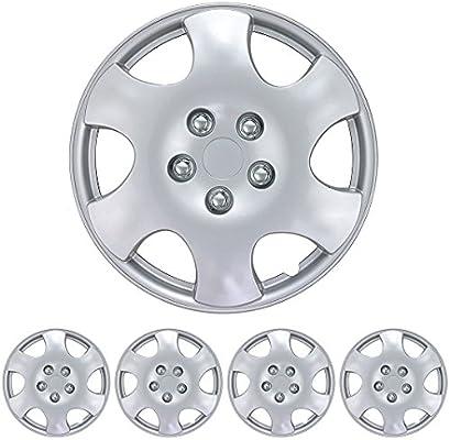 Amazon.com: BDK KT-1015- AMZKING Silver Hubcaps Wheel Covers ...