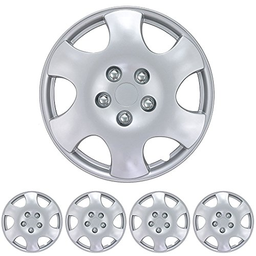 "BDK KT-1015- AMZKING Silver Hubcaps Wheel Covers for Toyota Corolla 15"" – Four (4) Pieces Corrosion-Free & Sturdy – Full Heat & Impact Resistant Grade – OEM Replacement, 4 Pack"