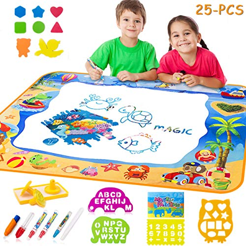 LightStone Aquadoodle Mat, Zero Mess Painting Toy with 25 PCS Drawing Mat Kids Toys for Boy Girl Toddlers Age 2+
