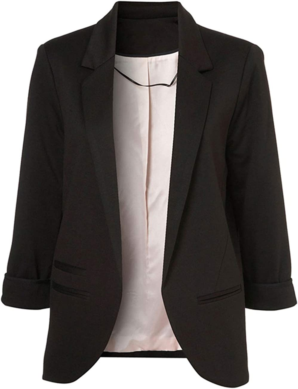 Lrady Women's Fashion Casual Rolled Up 3/4 Sleeve Slim Office Blazer Jacket Suits